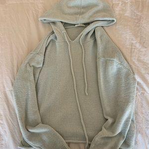 garage mint green thin cropped hoodie